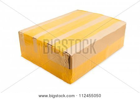 cardboard parcel isolated on white background