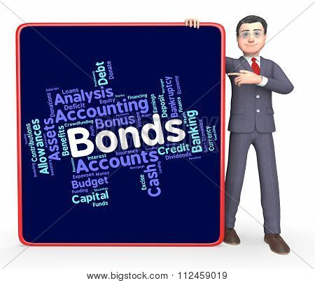 Bonds Word Represents In Debt And Loan