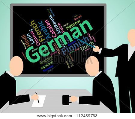 German Language Indicates Text International And Foreign