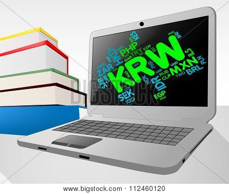 Krw Currency Represents South Korean Wons And Broker