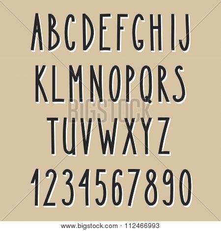 Hand Drawn Narrow Alphabet