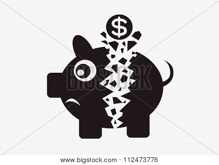 an images of illustration Broken Broken Piggy Bank