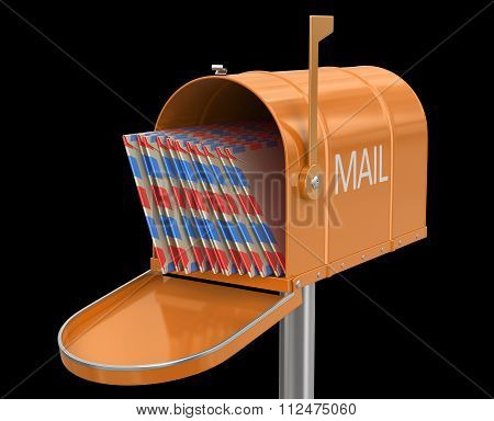 Open mailbox with letters. Image with clipping path
