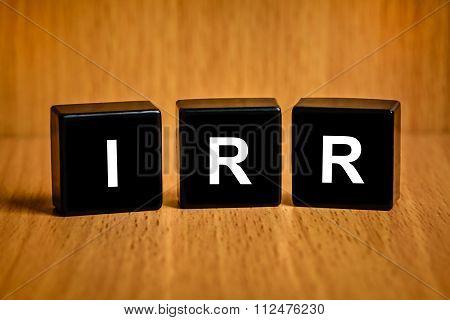 Irr Or Internal Rate Of Return Word On Black Block