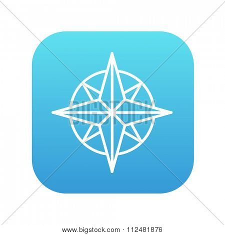 Compass wind rose line icon for web, mobile and infographics. Vector white icon on the blue gradient square with rounded corners isolated on white background.