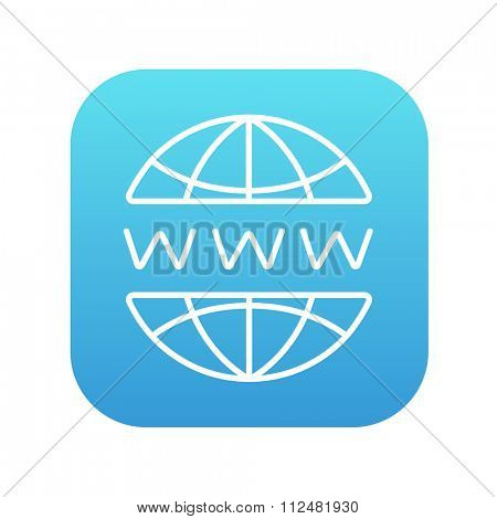 Globe internet line icon for web, mobile and infographics. Vector white icon on the blue gradient square with rounded corners isolated on white background.