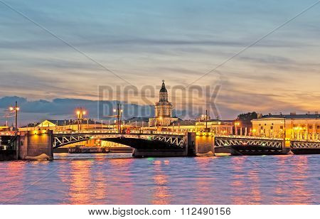 Saint-Petersburg. Russia. Night view with Palace Bridge over the Neva River