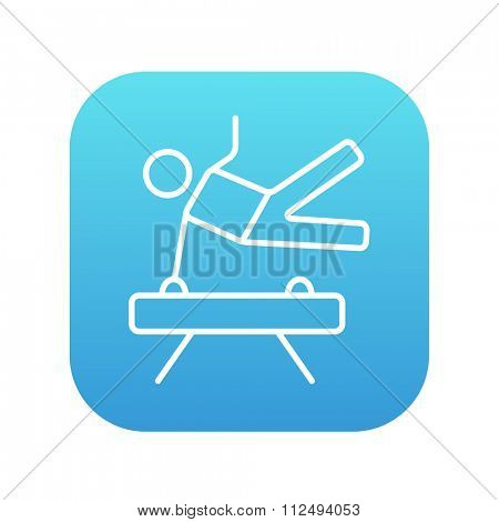 Gymnast exercising on the pommel horse line icon for web, mobile and infographics. Vector white icon on the blue gradient square with rounded corners isolated on white background.