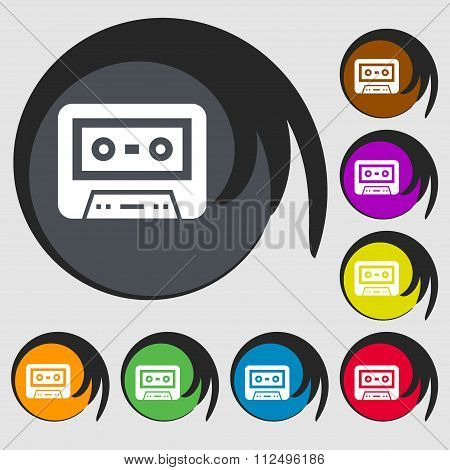 Audiocassette Icon. Symbols On Eight Colored Buttons.