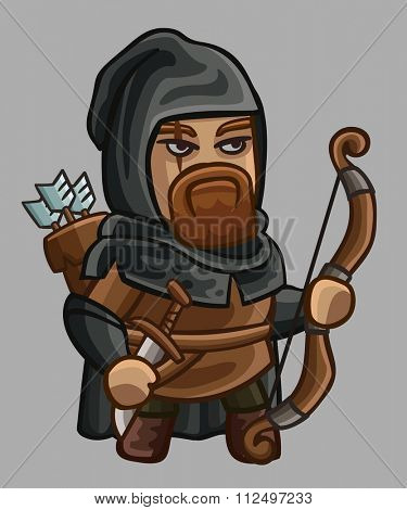 Medieval game character ranger. Vector illustration