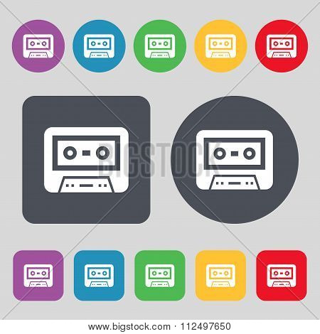 Audiocassette Icon Sign. A Set Of 12 Colored Buttons. Flat Design.