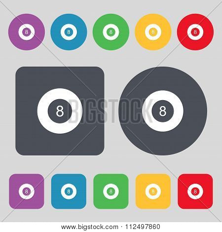 Eightball, Billiards  Icon Sign. A Set Of 12 Colored Buttons. Flat Design.
