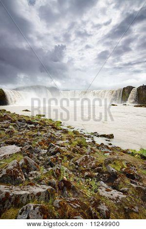 Powerful Godafoss Falls, Iceland