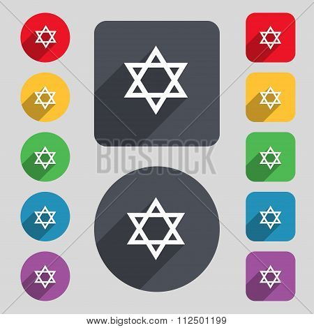 Pentagram Icon Sign. A Set Of 12 Colored Buttons And A Long Shadow. Flat Design.