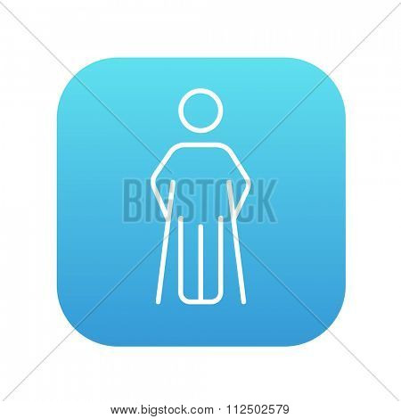 Man with crutches line icon for web, mobile and infographics. Vector white icon on the blue gradient square with rounded corners isolated on white background.