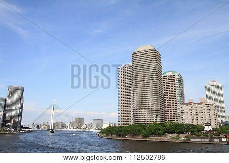 Okawabata river city 21 in Tokyo Japan