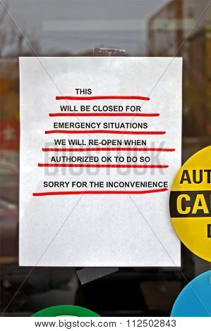 Shopping-mall Closed As Warning Message On Glass Door In Boston.