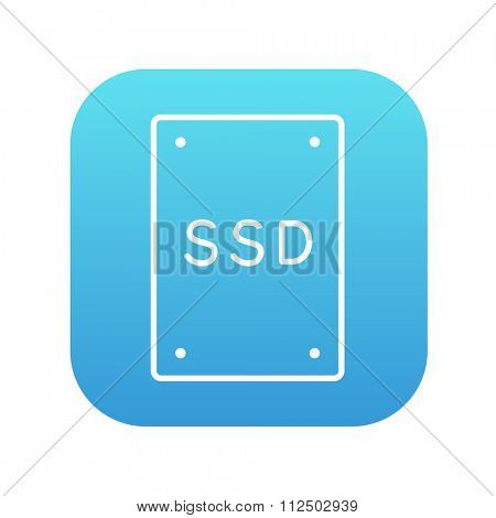 Solid state drive line icon for web, mobile and infographics. Vector white icon on the blue gradient square with rounded corners isolated on white background.