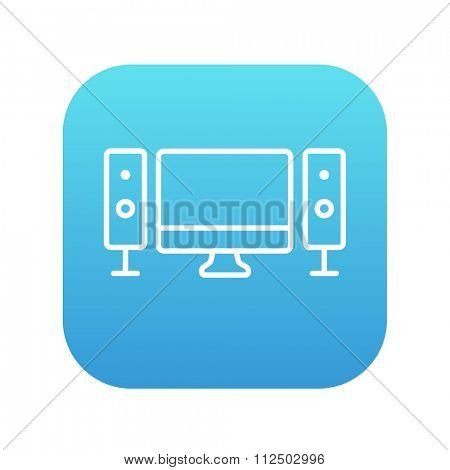Home cinema system line icon for web, mobile and infographics. Vector white icon on the blue gradient square with rounded corners isolated on white background.