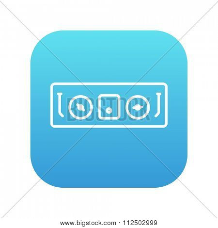 DJ console line icon for web, mobile and infographics. Vector white icon on the blue gradient square with rounded corners isolated on white background.