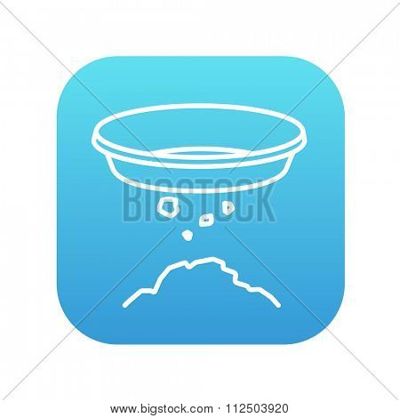 Bowl for sifting gold line icon for web, mobile and infographics. Vector white icon on the blue gradient square with rounded corners isolated on white background.