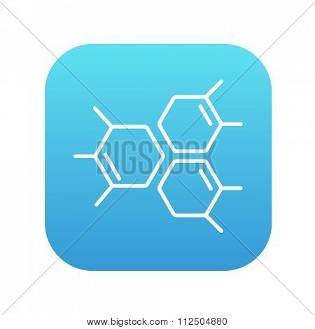 Chemical formula line icon for web, mobile and infographics. Vector white icon on the blue gradient square with rounded corners isolated on white background.