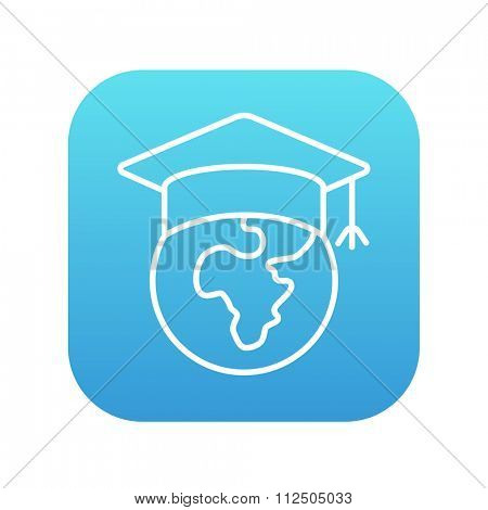 Globe in graduation cap line icon for web, mobile and infographics. Vector white icon on the blue gradient square with rounded corners isolated on white background.