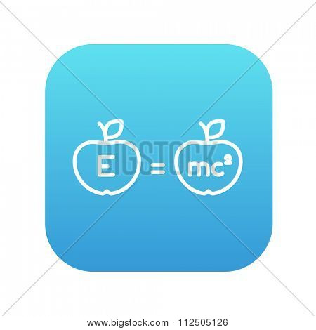 Two apples with formulae line icon for web, mobile and infographics. Vector white icon on the blue gradient square with rounded corners isolated on white background.