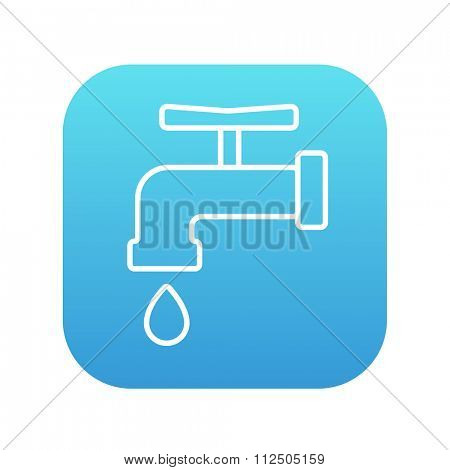 Faucet with water drop line icon for web, mobile and infographics. Vector white icon on the blue gradient square with rounded corners isolated on white background.