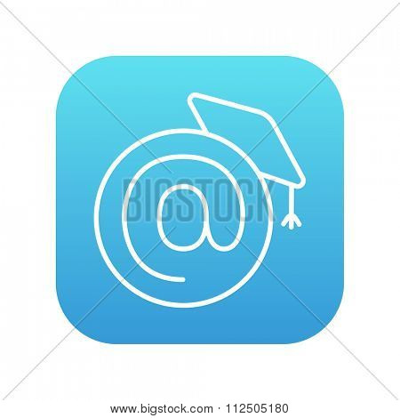 Graduation cap with at sign line icon for web, mobile and infographics. Vector white icon on the blue gradient square with rounded corners isolated on white background.