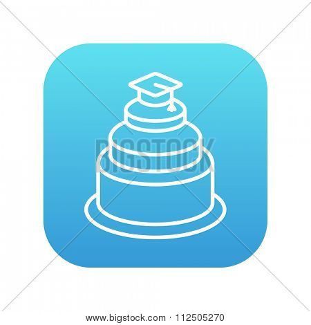 Graduation cap on the top of a cake line icon for web, mobile and infographics. Vector white icon on the blue gradient square with rounded corners isolated on white background.