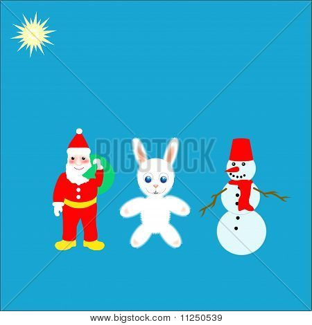 Santa with hare and snowman