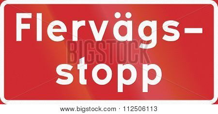 Road Sign Used In Sweden - All Way Stop