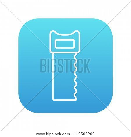 Saw line icon for web, mobile and infographics. Vector white icon on the blue gradient square with rounded corners isolated on white background.