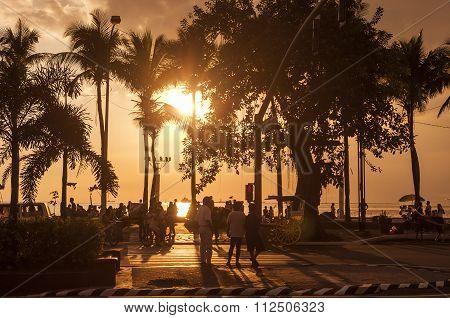 Backlight Of Beautiful Sunset At Manila Bay.