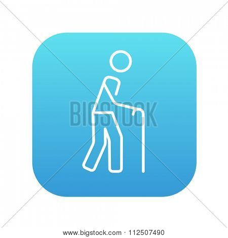 Man walking with cane line icon for web, mobile and infographics. Vector white icon on the blue gradient square with rounded corners isolated on white background.