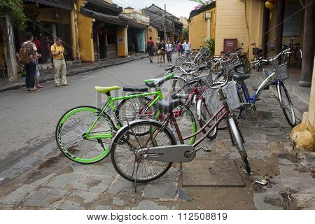 Bicycles for rent on the street of Hoi An ancient town
