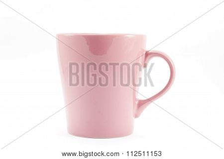 Pink Mug Isolated On White Background