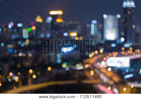 Abstract blurred bokeh lights background big city at night