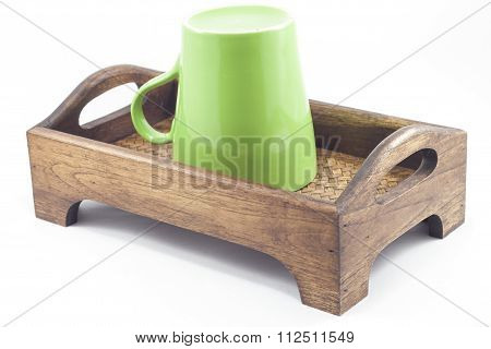 Brown Mug On Wooden Tray Isolated On White Background