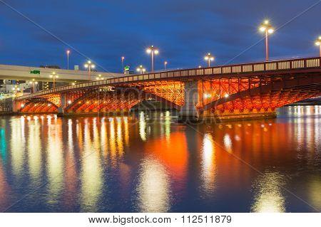 Twilight, Bridge cross over river in Tokyo city downtown