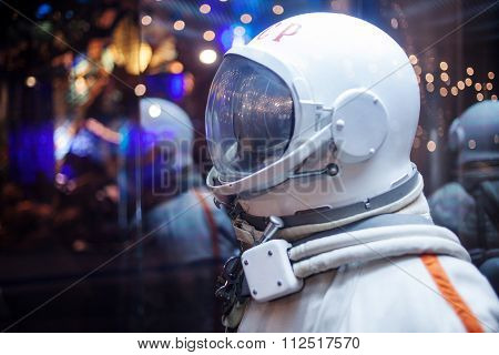 MOSCOW, RUSSIA - SEPTEMBER 6, 2015: Soviet cosmonaut dummy in the suit,  Museum of cosmonautics