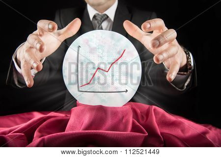 Fortune teller businessman, sees rising graph in a crystal ball