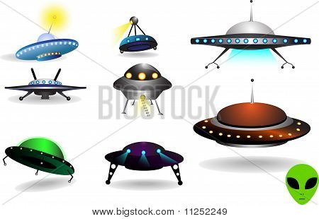 space collection of flying saucers