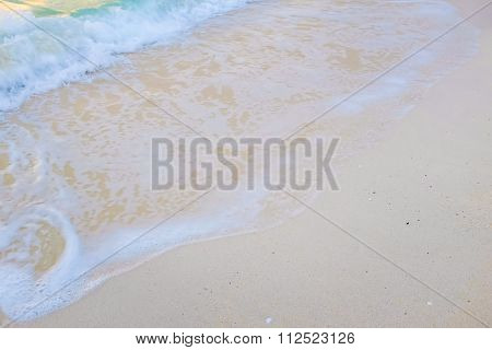 White sand beach Sea wave for ads background