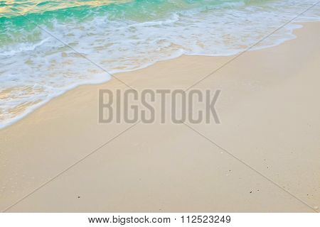 White sand beach Sea wave nature background