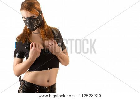 beautiful woman police officer in mask with spikes