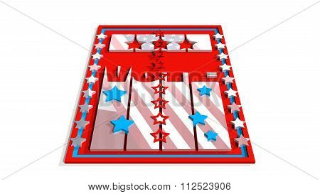 Vote 3D Text On Backdrop From Usa Flag Elements