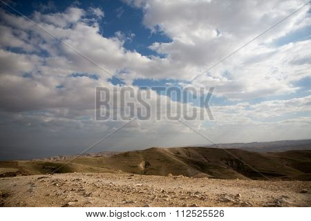 Israeli mountains in spring with cloudy sky