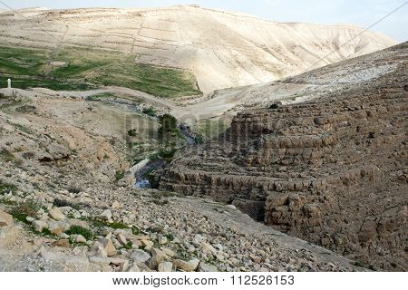 Israeli mountains in spring time with small river